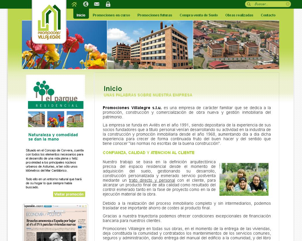 Promociones Villalegre  Sitio de la empresa de carácter familiar que se dedica a la promoción, construcción y comercialización de obra nueva y gestión inmobiliaria
