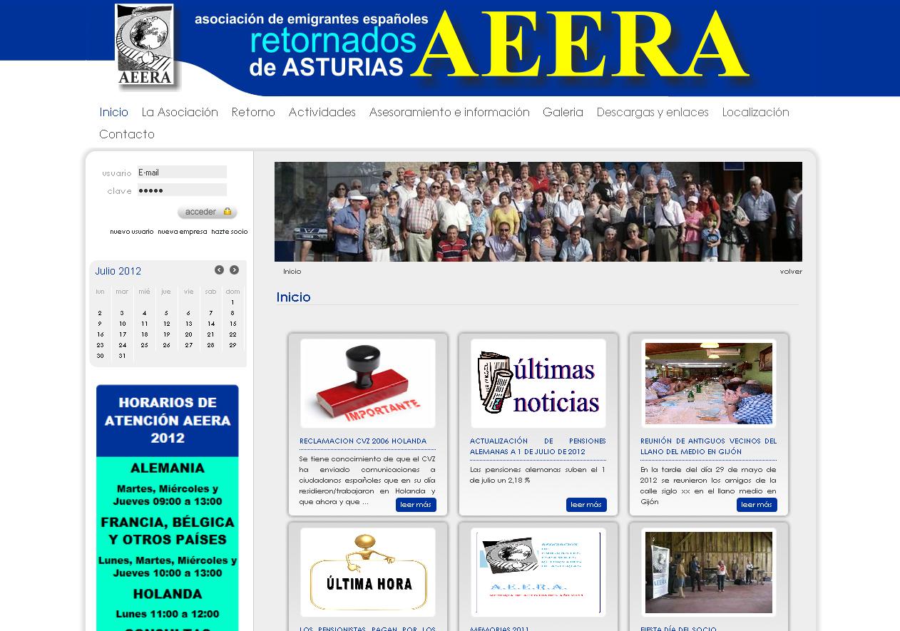 AEERA  Sitio web de la Asociación de emigrantes españoles retornados de Asturias.